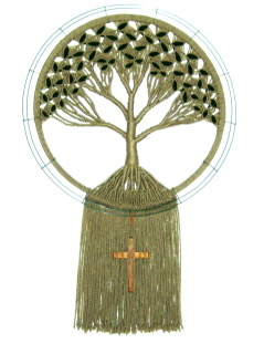 God's Family Tree - macrame and poem by Bev