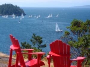 Red Chairs overlooking the bay